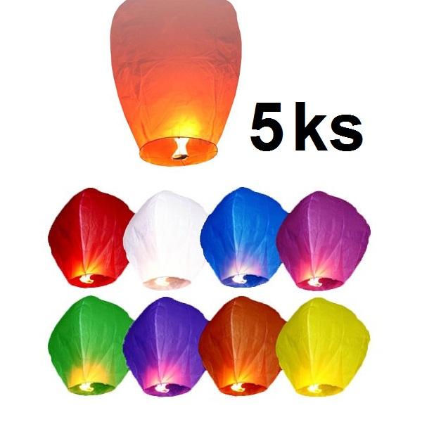 Lampión štěstí - 5 ks létajících lampionů štěstí